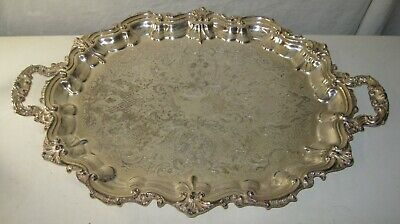 """Large  Heavy Silver Plate on Copper Footed  Tray POOLE SILVER 3214 , 28""""x18"""""""