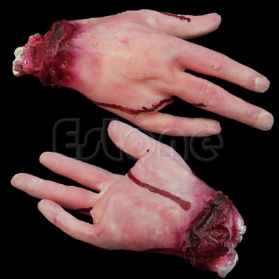 Halloween Bloody Hand Prop Fake Scary Decoration Horror Party Haunted House Mask