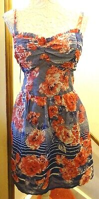 Blue/White/Red Stripe +Floral Lined Strappy Ruffle Trim Dress Size 18/20 Bnwot
