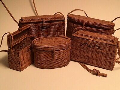 Collection of Woven Rattan Baskets/ Bags from Bali/Indonesia