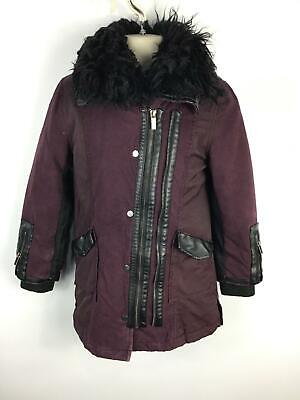 Girls River Island Purple 2 Zip Up Casual Faux Fur Collar Coat Kids Age 7 Years