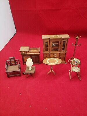 Vintage Lot of Scale Dollhouse Furniture Accs Wooden SHACKMAN lot collection