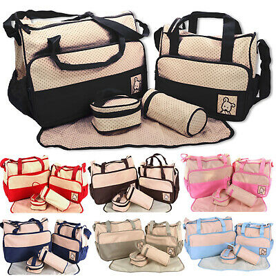 5pc Baby Bags Set Mummy Changing Nappy Diaper Tote Large & Small Bag Mat Bottle