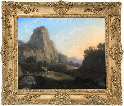 Traveller on Mountain Pass Antique Oil Painting attr. John Rathbone (1750–1807)