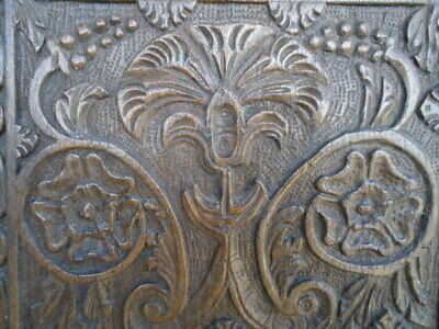 Rare 17Th  Century Oak Carved With Central Flower And Rose Heads   Panel
