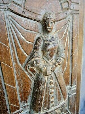 Large 18Th / 19Th  Century Oak Deep Carved Figure Holding A Book Panel