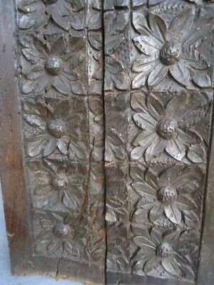 Two Rare 16Th  Century Oak Carved Flower Heads Panel ##