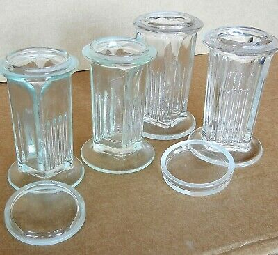 Lot of 4 Coplin Staining Jars + 2 Covers, Used + defects Microscope glass slides