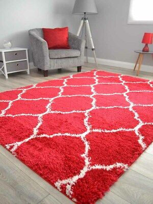 Red Off White Small Extra Large Soft Thick Trellis Shaggy Floor Mat Rugs Cheap