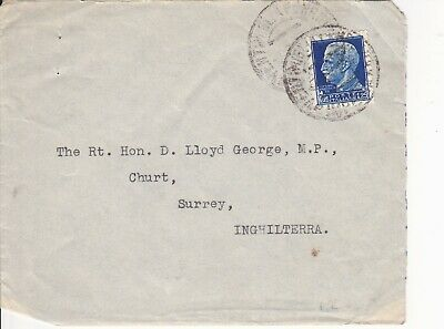 POSTAL COVER to THE RT. HON. D. LLOYD GEORGE M.P. at CHURT, SURREY from SAN REMO