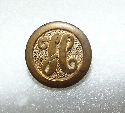 "Antique Vintage Brass Metal Button with Initial Fancy Letter ""H"" #5901"
