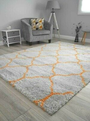New Silver Grey Orange Small Extra Large Soft Pattern Shaggy Floor Mat Rug Cheap