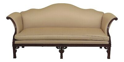 47839EC: HICKORY CHAIR CO Chippendale Carved mahogany Camelback Sofa
