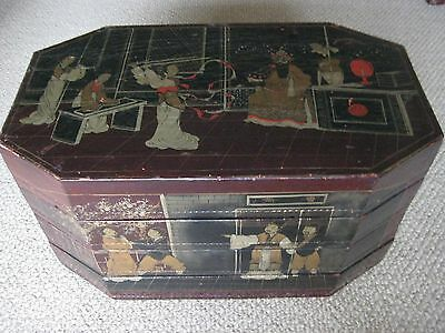 Vintage Octagonal Chinese Cardboard Handpainted 4 Section Wedding Container Box