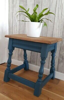 Vintage Rustic Oak Side Table/Stool, Display.  French Navy