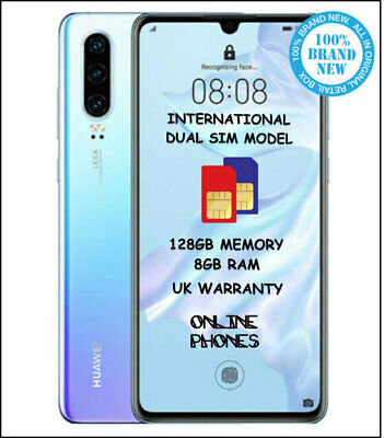 Huawei P30 * Dual Sim * 8GB RAM * 128GB Phone (Breathing-Crystal) + UK WARRANTY