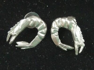Vtg Maurice Milleur Shrimp Earrings Silver Pewter Signed Handmade Louisiana