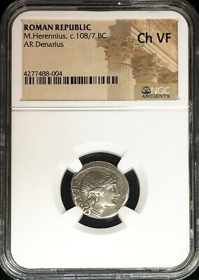 108/7 Bc Silver Roman Republic M. Herennius Denarius Father Coin Ngc Choice Fine