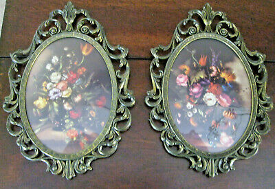 Pair of Vintage Oval Floral Pictures Ornate Metal Frames Convex Glass ~ Italy