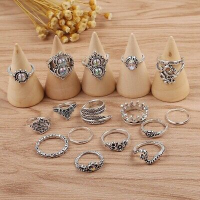 16pcs Silver Boho Stack Plain Above Knuckle Ring Midi Finger Tip Rings Set