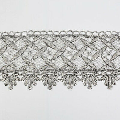 2 Yards 3d Embroidery Flower Lace Trim Trims DIY Sewing Vintage Grey Decoration