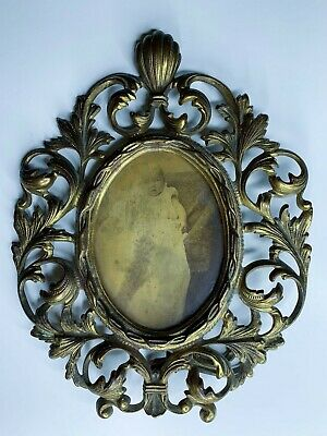 Antique Ornate Frame Oval Victorian Gold Bronze Color Cast Iron Metal Easel