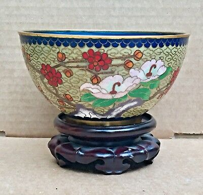 Chinese Green Ground Vintage Cloisonne Enamel Bowl With Wooden Stand