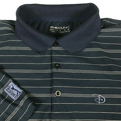 Nike Golf Disney PGA Tour Fit Dry Blue Striped Rugby Golf Polo Shirt Mens M