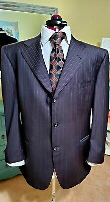 "CANALI ""Exclusive"" Dark Charcoal 3Btn Suit Burgundy Stripes Wool 150's  46R"