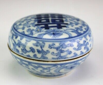 Chinese Export Hand Painted Floral Porcelain Lidded Coin Trinket Jewelry Box SAB