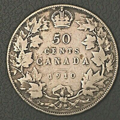 Canada 1910 Fifty Cents Silver Coin,
