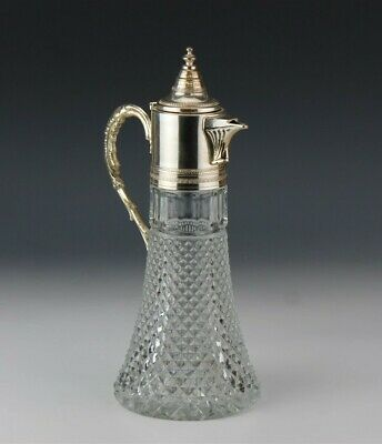 Made in Italy Cross Hatch Glass Silver Plate Mounted Bar Barware Claret Wine Jug