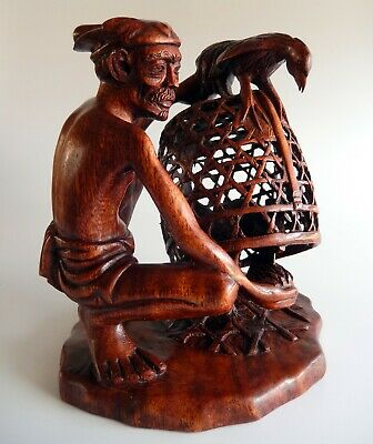 Vintage Balinese Wood Carving Old Man with Fighting Cocks in Cage 1950s Bali