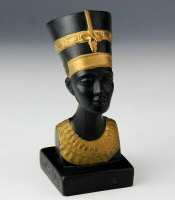 Egyptian Revival Carved Composition Black & Gold Queen Nefertiti Bust Sculpture