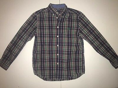 Boy Chaps Long Sleeve Button Up Shirt Size L 14-16 Navy Plaid Holiday Christmas