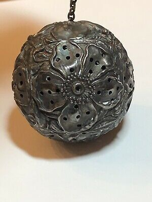 Antique Reddall & Co Sterling Silver Floral Repousse Tea Infuser Strainer Ball