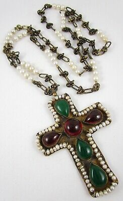 Gorgeous Byzantine Goossens Style Poured Glass Pearl Gilt Bronze Cross Necklace