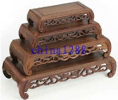 4Pc Unique Suiseki Display*rosewood*carved Double Dragon Bonsai Table