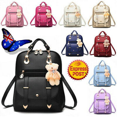 PU Leather Backpack Travel Handbag Rucksack Shoulder School Women Girls Bag AU