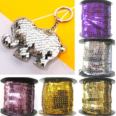 3/80M 6mm Sequin Trim Sewing String Flat Round Faceted Paillette Wedding Craft
