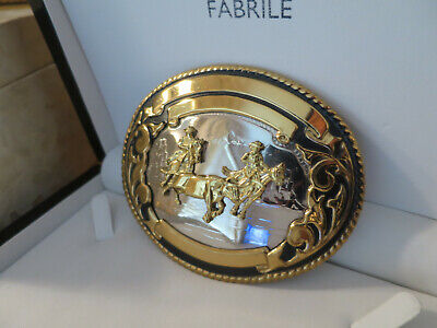 Large Vintage Cowboys & Bull German Silver Belt Buckle, Thomas Cook 126 gm (112)