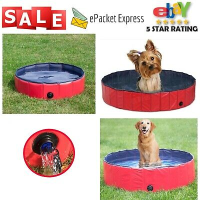 Portable Dog Pool Foldable Cat Puppy Pet Outdoor PVC Bathtub Baby Blue Red New