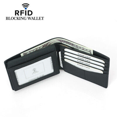 RFID Blocking Genuine Leather Bifold Capacity Card Holder Soft Purse Wallet US