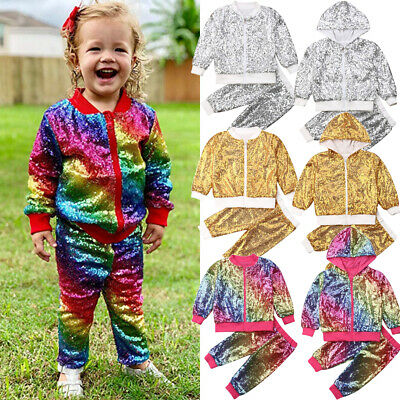 Girls Kids Winter Outfits Sequin Zipper Pullover Tops Pants Clothes Tracksuit