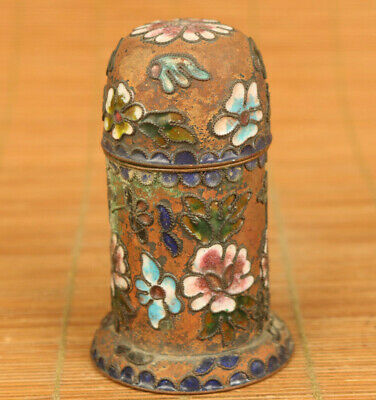 Antiques china old cloisonne Handcarved flower statue toothpick box decoration