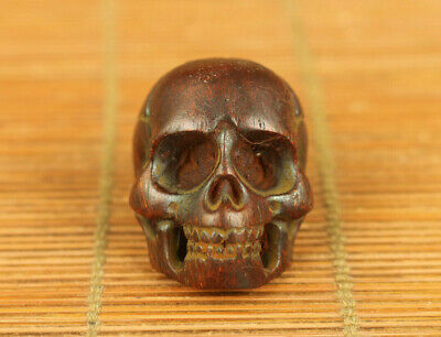 cool chinese old yak horn hand carved skull head statue pendant netsuke decorate