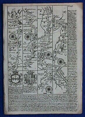 Original antique road map, LANCASHIRE, MANCHESTER, CHESHIRE, Bowen, c.1724