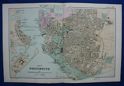 PLAN OF PORTSMOUTH, original antique atlas map / city plan, George Bacon, 1895
