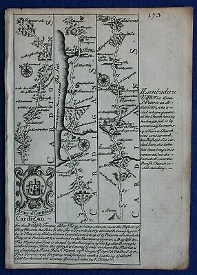 Original antique road map, WALES, CARDIGAN, MONTGOMERY, MERIONETH, Bowen, c.1724