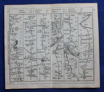 Original antique road map CHESTER, BANGOR, BEAUMARIS, HOLYHEAD, Bowles c.1792